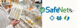 SafeNetRx logo and image of medications