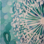 Abstract painting depicting sun's rays and a teal ribbon