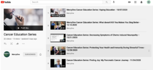 Screenshot of Mercy One's Cancer Education Series playlist on YouTube