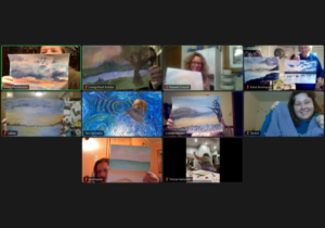 Attendees on a Zoom call holding up various pieces of artwork they created.